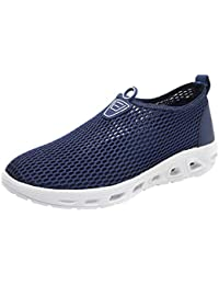 Mens Breathable Water Shoes Round Toe Solid Slip On Trainers Comfy Running Shoes for Beach Pool