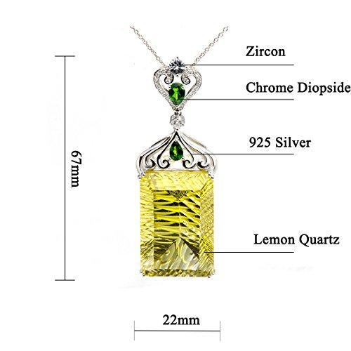 Hutang Pierre précieuse Argent sterling 925massif véritable Programme de citron à quartz et chrome Diopside Pendentif pour femme Sterling-silver-jewelry