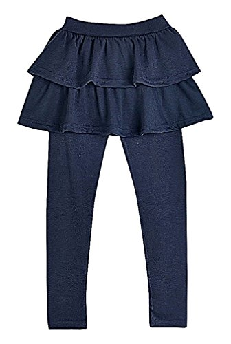 Sweety, Girls' Fancy Solid Color Soft Elastic Cotton Ruffled Skirted Long Leggings, Blue (Child Tapered Chiffon Skirt)