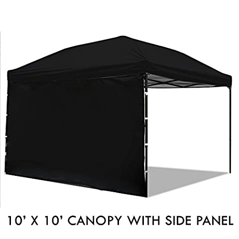 Pop Up Canopy Tent with Sidewall 10 x 10 Feet, Black - UV Coated, Waterproof Outdoor Party Gazebo - Party Tent Replacement