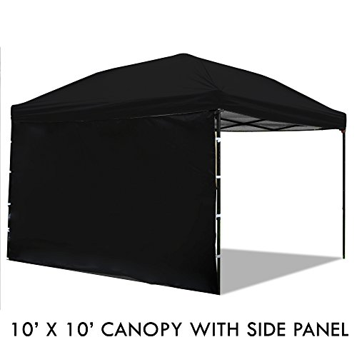 Rc Heli Canopies - Pop Up Canopy Tent with Sidewall 10 x 10 Feet, Black - UV Coated, Waterproof Outdoor Party Gazebo Tent