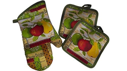 Kitchen Decor - Towel Linen Set of 6 Pieces Fruit Themed Design - Kitchen Towel 2 Potholders 2 Scrubber Dishcloths 1 Oven Mitt - Linen Apple Pear Set - Oven Mitts by TopNotch Outlet (Image #1)