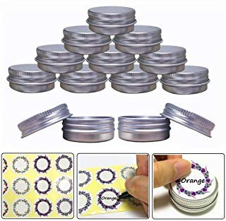 (Aluminum Tin Jars, Cosmetic Sample Metal Tins Empty Container Bulk, Round Pot Screw Cap Lid, Small Ounce for Candle, Lip Balm, Salve, Make Up, Eye Shadow, Powder (24 Pack, .5 Oz/15ml))
