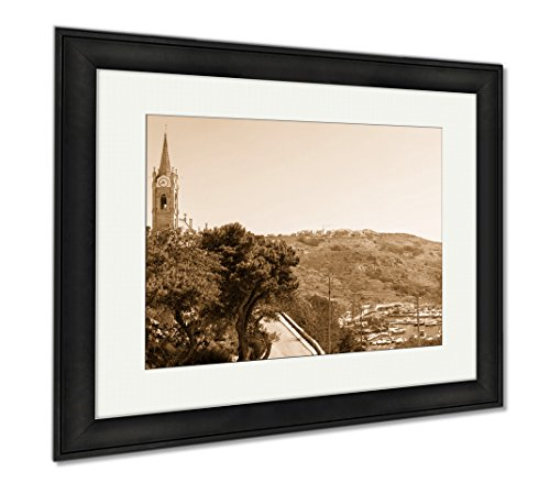 Ashley Framed Prints Mgarr Is Town And Harbour At The East End Of Gozo Malta, Wall Art Home Decoration, Sepia, 26x30 (frame size), Black Frame, - Town Harbour Shops At