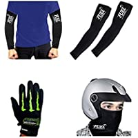Fuel Combo of Full Face Mask, Arm Sleeve and Monster Riding Gloves (Black)