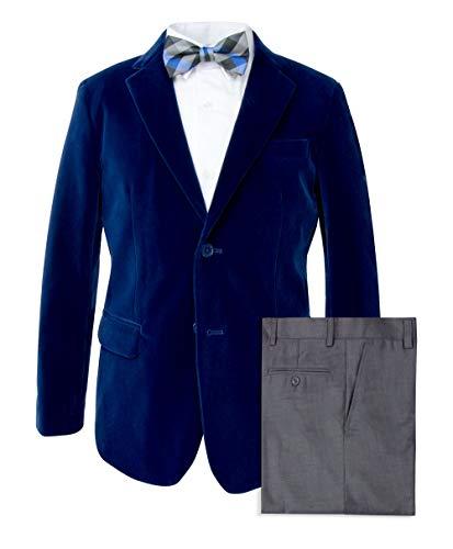 Spring Notion Big Boys' Royal Blue Velvet Blazer Set A 14