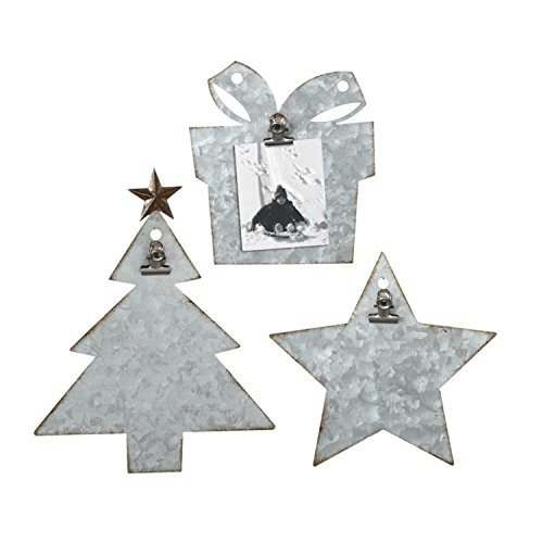Diva At Home Set of 3 Gray Iron Decorative Galvanized Holiday Clip Photo Holder 9'' by Diva At Home