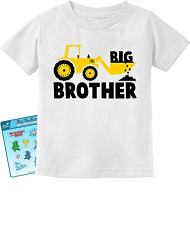 Brother Kids T-shirt - Tstars - Big Brother Gift for Tractor Loving Boys Toddler/Infant Kids T-Shirt 5/6 White