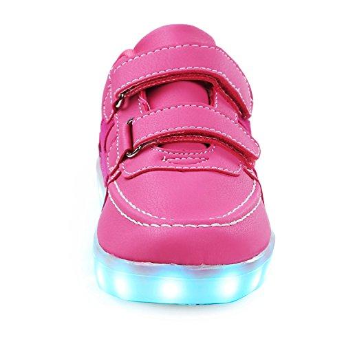 SAGUARO® Mädchen Jungen Leuchtschuhe 7 Farben Kinderschuhe USB Aufladen LED Schuhe Leuchtende Blinkschuhe Licht Turnschuhe Light Up Sport Sneaker, Rosa 39