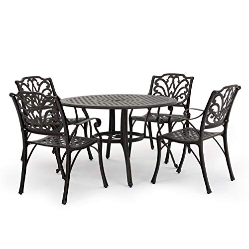 GDF Studio Calandra | 5 Piece Cast Aluminum Outdoor Circular Table Dining Set | Perfect for Patio | in Bronze