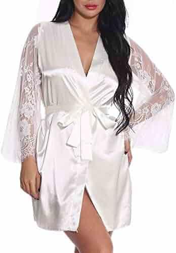 d199162e1f Exlura Women's Short Kimono Robes Plus Size Bridesmaids Satin Sleepwear Lace  V-Neck Bathrobes with