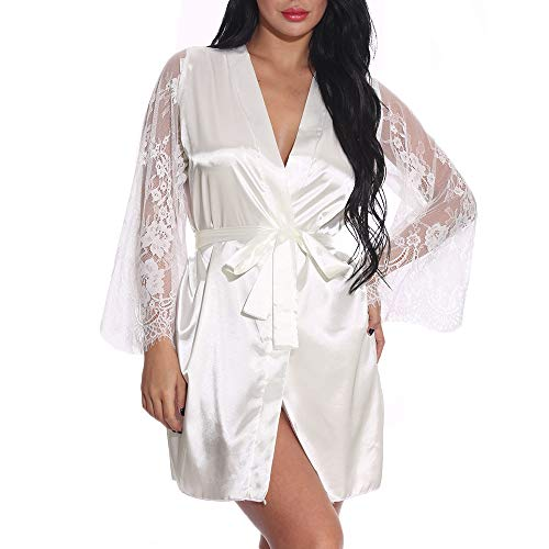 Exlura Womens Short Kimono Robes Plus Size Bridesmaids Satin Sleepwear Lace V-Neck Bathrobes with G-String Thongs White
