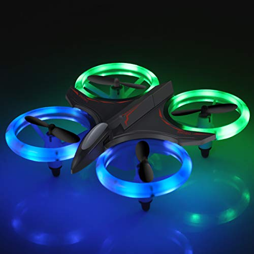 Drones for Kids, Mini RC Drone with Altitude Hold and Headless Mode, Quadcopter with Blue & Green Lights, Propellers Full Protect and Double Batteries, Easy to Fly Gift Toy for Boys and Girls