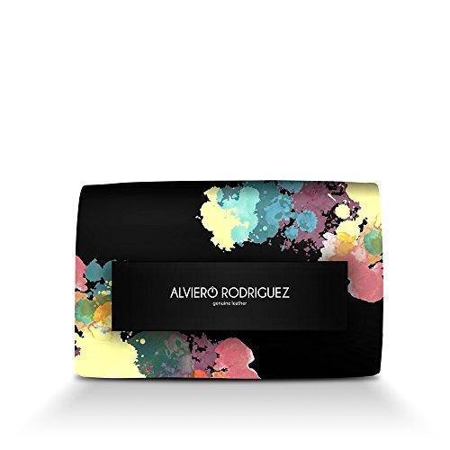 Borsa Donna Alviero Rodriguez Passamano Splash Splatter Pittura Colori in Vera Pelle