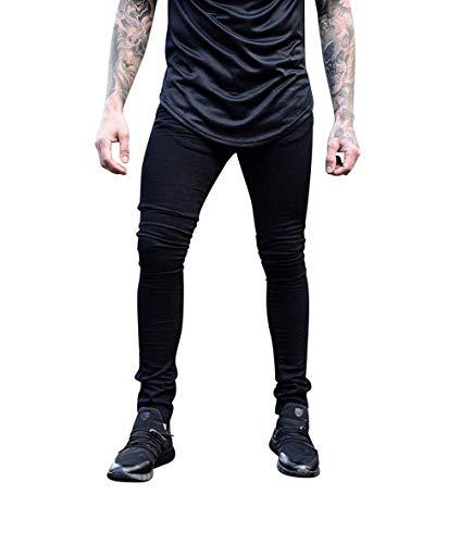 Especial Slim Pantaloni T Casual Regular Elasticizzati Fit Da Uomo Sportivi Denim Jeans Estilo Nero Ywp6xAqU0