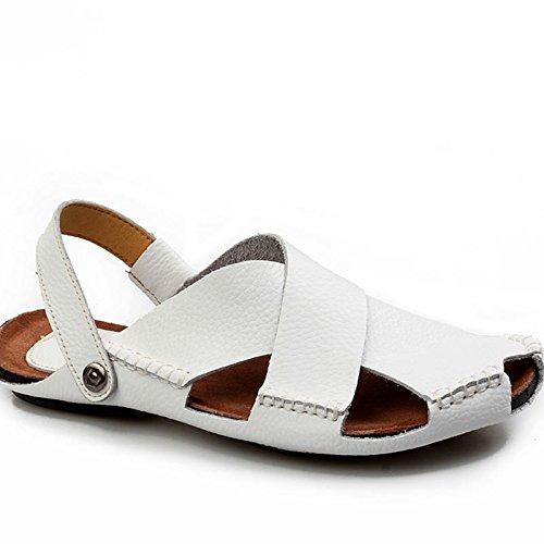 Xing Lin Flip Flop De La Playa Hechos A Mano Para Hombres Sandalias De Verano Suave Transpirable Casual Baotou Calzado De Playa Sandalias Marea De Hombres white