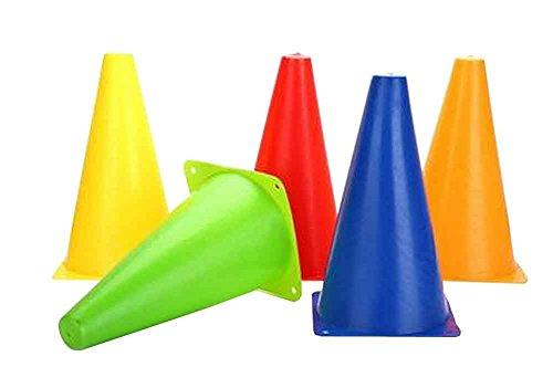 Set of 10 Random Color Outdoor Agility Cones Sports Soccer Cone Sets 23cm by Black Temptation