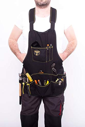 Teutonic Tools Work Tool Apron Kit - 15 Pockets Combo Adjustable Waterproof Pack for Wrenches - Perfect Set for Mechanics, Handyman - Small Roll Up Bag Organizer, Wrench Keychain and ()