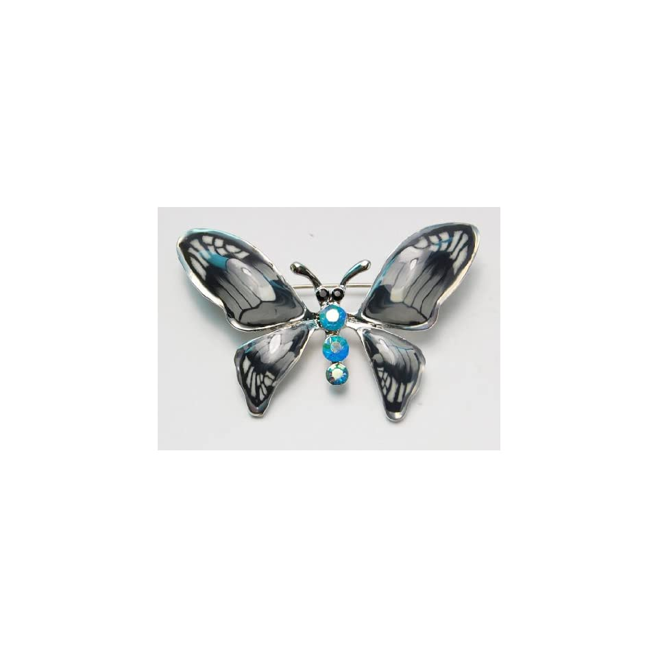 Grey Enamel Gloss Hand Painted Blue Synthetic Opal Crystal Rhinestone Butterfly Brooch Pin