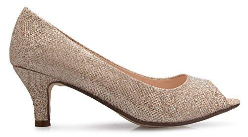 Open K Champagane Heel Glitter Classic ��s Causal Olivia Rhinestone Comfortable Kitten With Women Toe BIdq0xOn