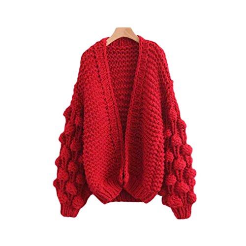Manica YAANCUN Pullover Autunno Casuale Rosso Maniche Maglieria Maglione Maglie Jumper Puff Lunghe Inverno Elegante Allentato Donna rPrwEz