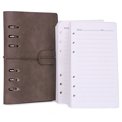 """Leather Refillable Writing Journal + 2 Pack Refills Set, Travel Notebook Traveler's Dairy Daily Notepad, Teacher Travelers Planner, Wide Ruled 4.9"""" x 7.5"""", Gift by BriStory"""