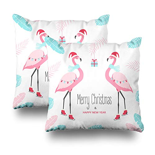 Set of 2 Decorative Pillows Case Throw Pillow Covers for Couch Indoor Bed 18 x 18 Inch,Christmas with Flamingo Flamingo Christmas Holiday Tropical Happy Home Sofa Cushion Cover Pillowcase Gift