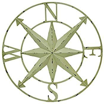 Large Distressed 39 Metal Compass Wall Decor Art Sculpture With Weathered Look Ivory