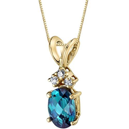 14 Karat Yellow Gold Oval Shape 1.00 Carats Created Alexandrite Diamond Pendant