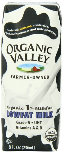 Organic Valley White 1 % Milkfat Lowfat Milk, 8 Ounce Carton (Pack of 12)