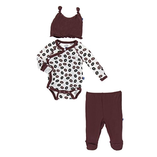 (Kickee Pants Little Girls Ruffle Kimono Newborn Gift Set with Elephant Gift Box - Natural Coffee Beans, 0-3 Months)