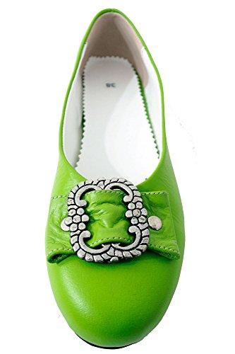 Damen Trachtenschuhe Dirndl Schuhe Trachten Ballerinas Echtes Rindnappaleder Premium, Grün, Gr.39