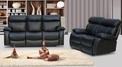 DESIGNER MILANO LEATHER RECLINER SOFA SET - 3+2 SEATER - BLACK *HURRY - BUY NOW* Amazon.co.uk Kitchen u0026 Home : milano recliner sofa - islam-shia.org