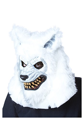 California Costumes Men's White Lycan Ani-Motion Mask Werewolf Vampire Horror, White, One -