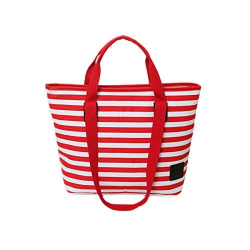 Toile en Rayures Rouge Sac Shopping Casual à Main BBSMYA Plage Marinière pour Sac Femme de Cabas Estival Sac Bandoulière Sac à ZqaOU