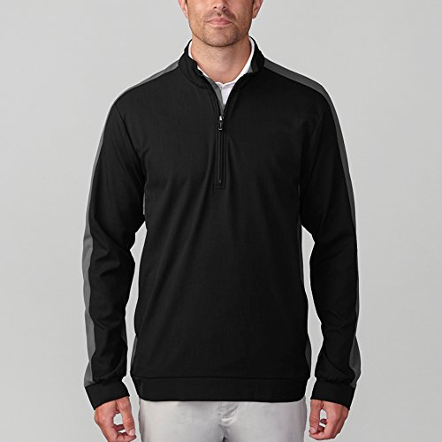 Ashworth Men's Stretch Wind Half-Zip Golf Pullover (S, Black)