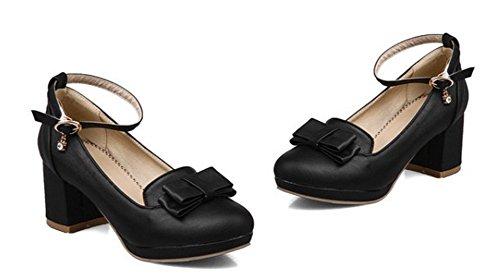 Aisun Moda Donna Archi Tacco Piattaforma A Fibbia Tacco Largo Scarpe Con Tacco Medio E Cinturini Alla Caviglia