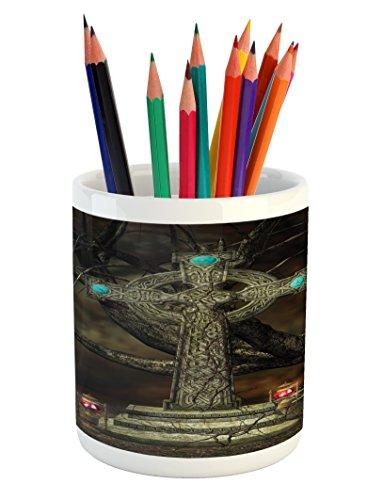 Lunarable Gothic Pencil Pen Holder, Gothic Cross Tree Grave Skulls and Tombstone Lanterns Graveyard Night Art, Printed Ceramic Pencil Pen Holder for Desk Office Accessory, Olive Green Aqua ()