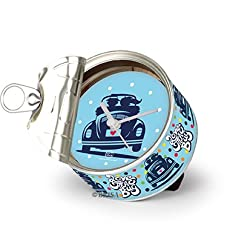 VW Collection by BRISA Unique Photo Frame Clock in Genuine VW Beetle design (Love That Bug Blue)