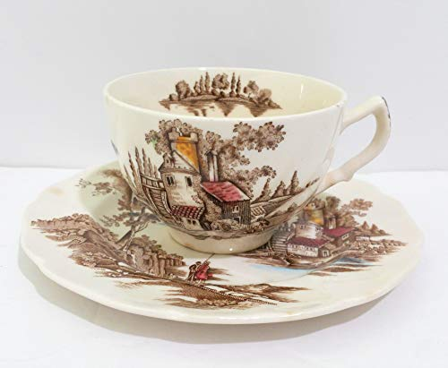 Johnson Brothers The Old Mill England Footed Cup & Saucer - Set of 2