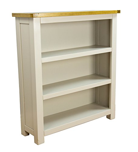 Wellington Painted Oak Low Bookcase / Grey 3 Shelves - With Solid Oak Top