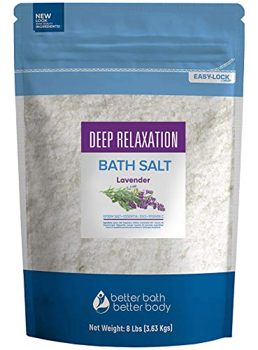 Deep Relaxation Bath Salt 128 Ounces Epsom Salt with Pure Lavender Essential Oil Plus Vitamin C and All Natural Ingredients from Better Bath Better Body