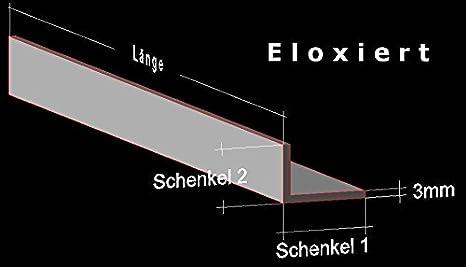 Alu Winkel silber eloxiert E6 EV1; 100 x 40 x 4 mm; Aluprofil L Profil Aluminiumprofil Winkelprofil /… 200 cm