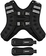 PACEARTH Weighted Vest with Ankle/Wrist Weights 6/12/16/20/25lbs Adjustable Body Weight Vest with Reflective S