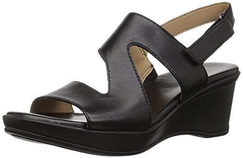 Naturalizer Women's Valerie Wedge Sandal, Black, 6 Medium (Naturalizer Wedge Shoes)