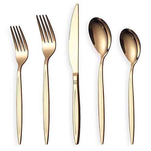 Rose Gold Silverware Set 20 Pieces, Stainless Steel Rose Gold Flatware Set, Titanium Plating Copper Cutlery Set, Utensil…