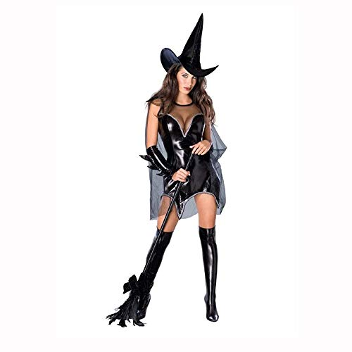 (Fashion-Cos1 Adult Costume Halloween Party Women Witch Costume Sexy Fancy Magician Performances Black Dress with Hat (Size :)