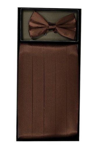 Classy Brown SILK Cummerbund and Bow Tie Set with Box