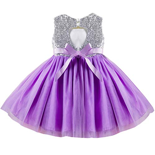 - Princess Formal Special Occasion Dress for Girl 3t 4t Kids Shiny Sequins Brithday Tulle Tutu Cute Puffy Ruffle Lace Party Girls Dresses Purple Lil Lavender Mauve Easter Christening Baptism Girl Dress