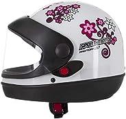 Pro Tork Capacete Sport Moto For Girls 60 Branco/Rosa